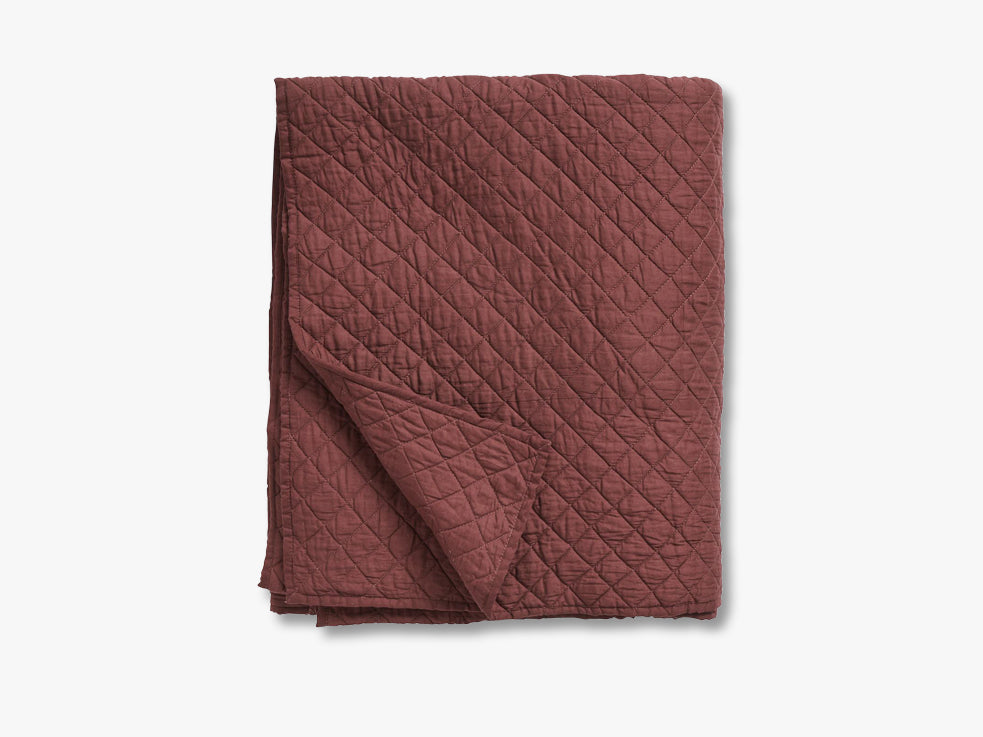 Cotton quilt, bed spread, burgundy fra Nordal