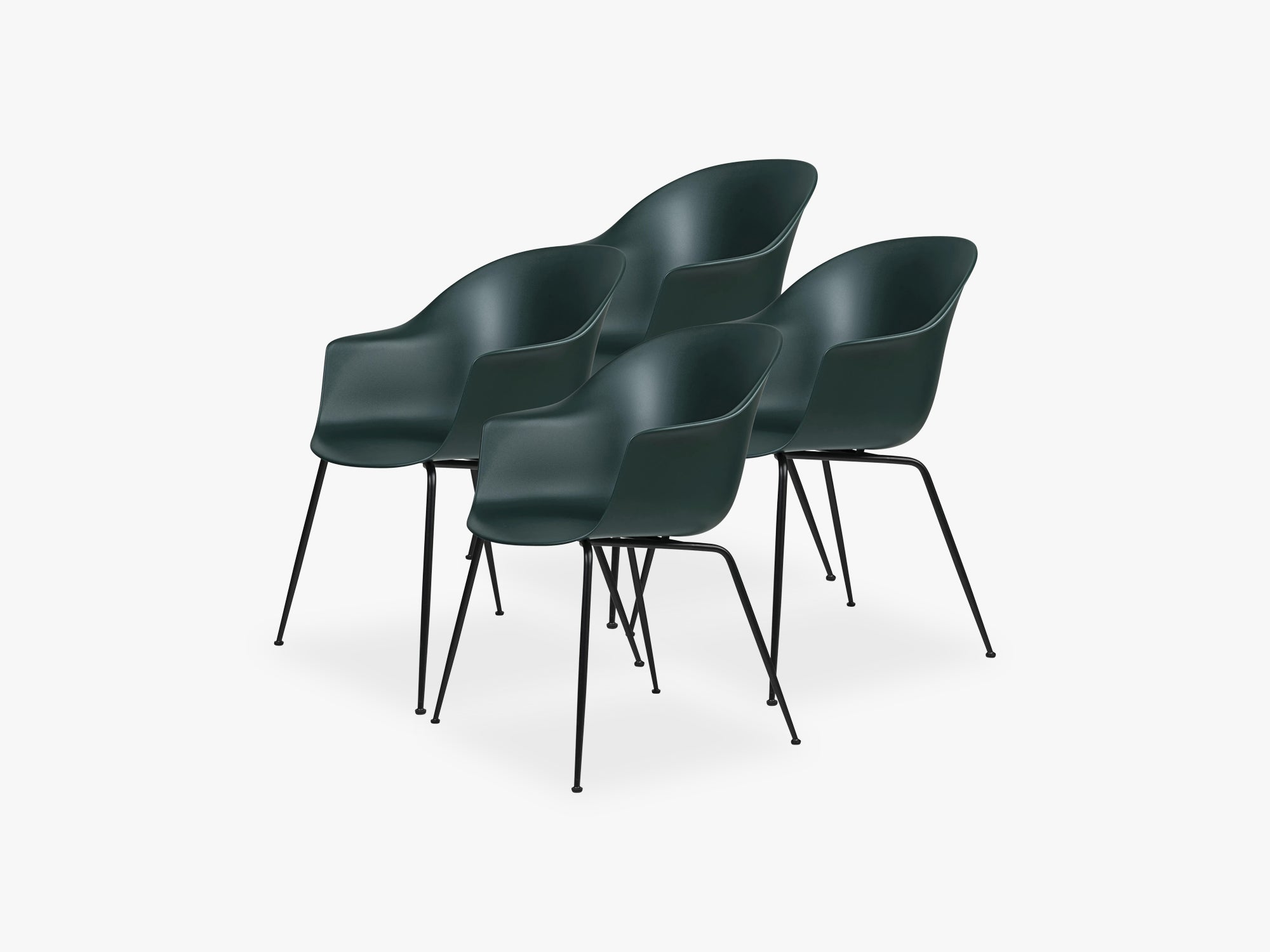 Bat Dining Chair 4 pcs - Conic Black Matt Base, Dark Green fra GUBI