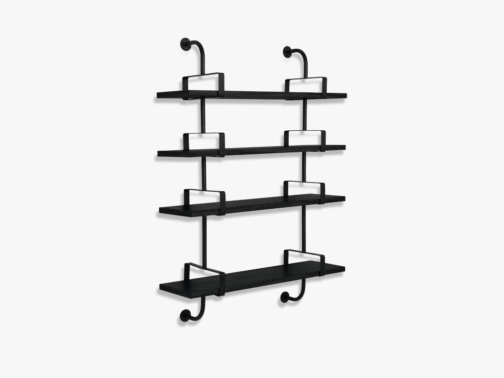 Démon Shelf - 2 Brackets - 95 cm 4 shelves, Black Stained Ash shell fra GUBI