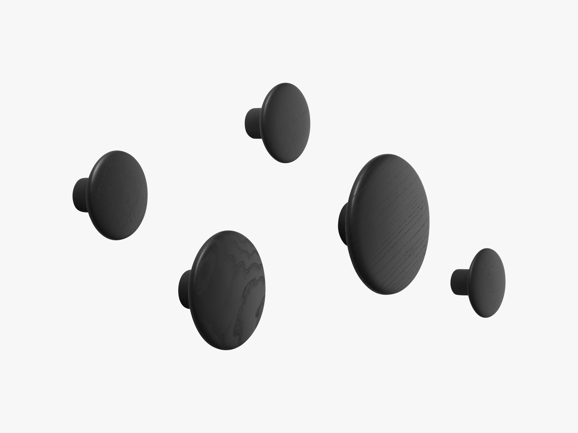 The Dots Coat Hooks / Set Of 5, Black fra Muuto