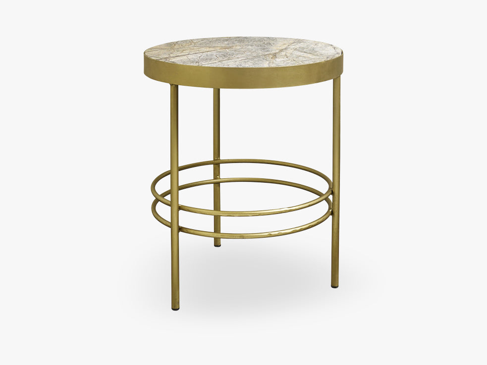 JUNGLE round side table, marble,antgold fra Nordal