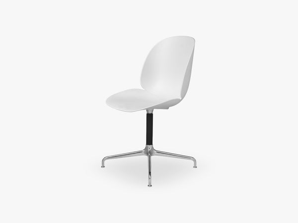 Beetle Meeting chair - Un-upholstered - 4-star swivel Aluminium base, White shell fra GUBI