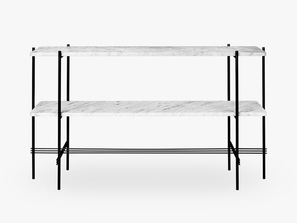 TS Console - 2 rack Black base, Marble white top fra GUBI