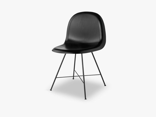 3D Dining Chair, Black Center Base,Wood Shell, Black Beachwood fra GUBI