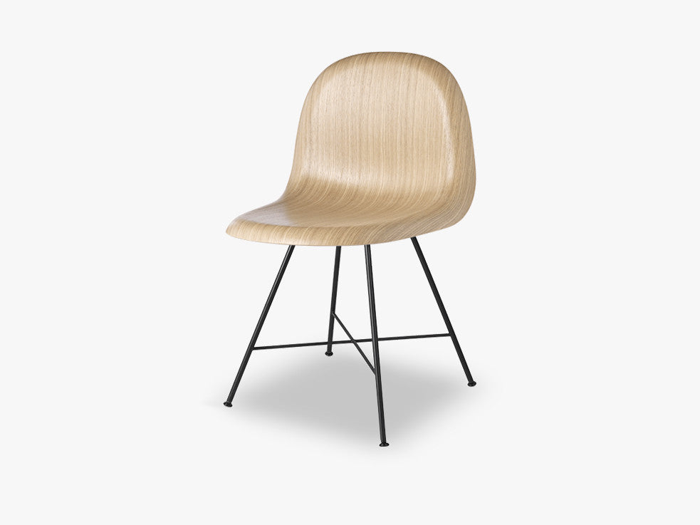 3D Dining Chair, Black Center Base,Wood Shell, Oak fra GUBI