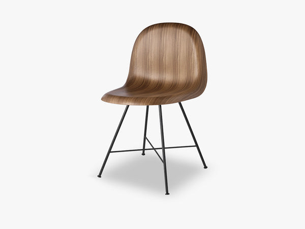 3D Dining Chair, Black Center Base,Wood Shell, Walnut fra GUBI