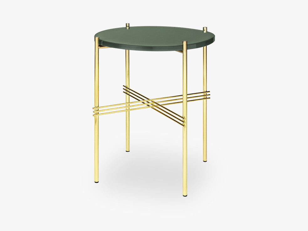 TS Coffee Table - Dia 40 Brass base, glass dusty green top fra GUBI