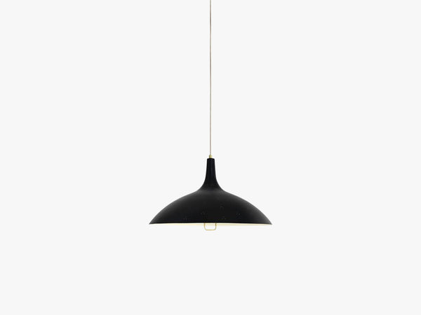 1965 Pendant - Brass base, Black shade fra GUBI