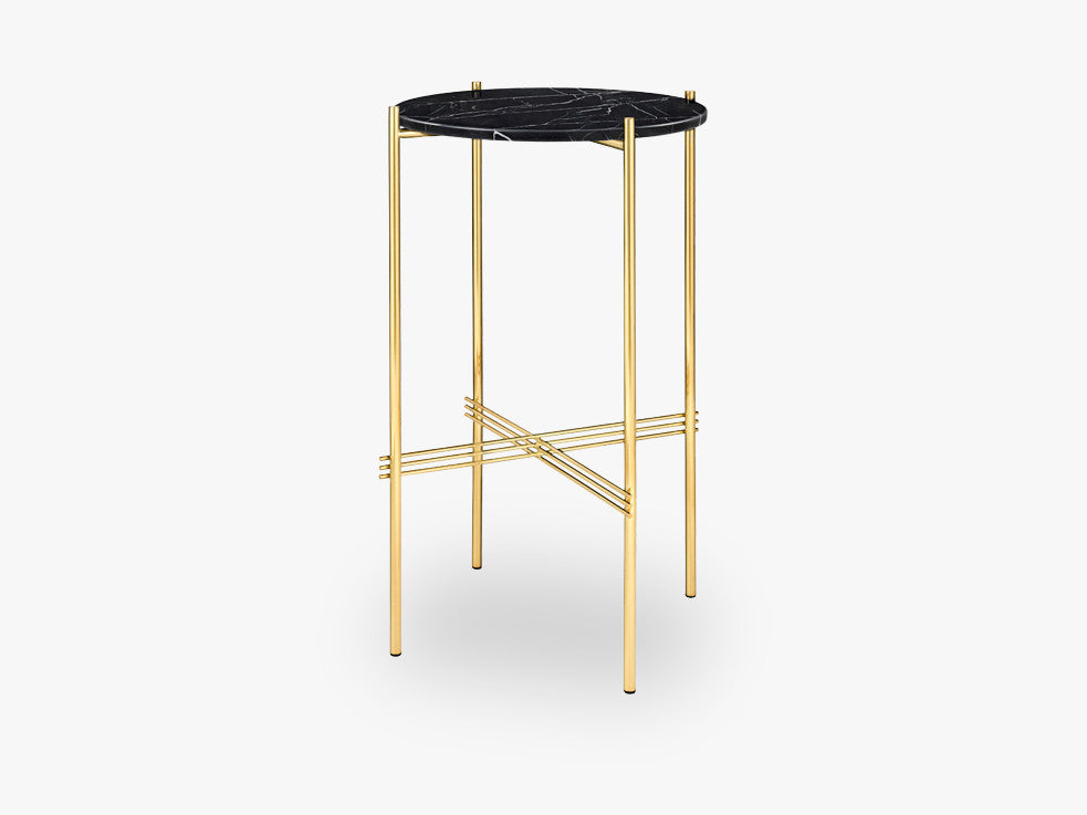 TS Console - Round - Dia 40 Brass base, marble black top fra GUBI