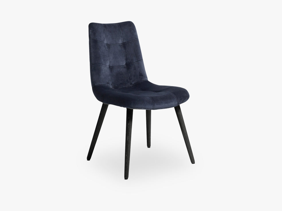 Dinner chair, navy, velvet, black legs fra Nordal