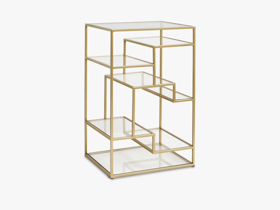 Display with glass shelves, metal, gold fra Nordal