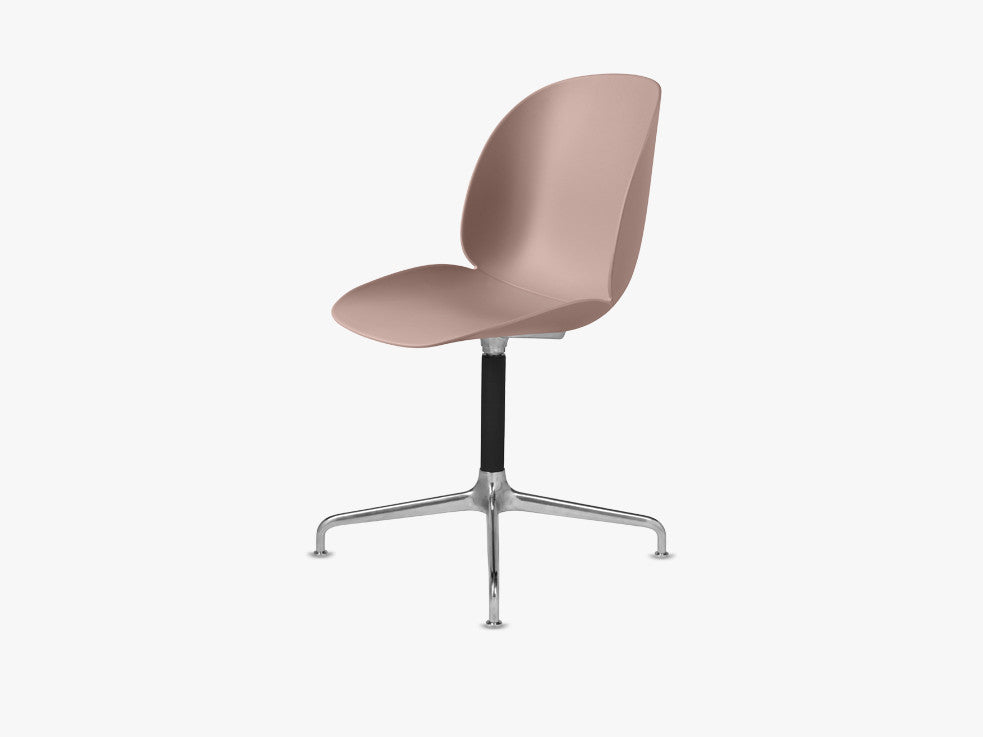 Beetle Dining Chair - Un-upholstered Casted Swivel base Aluminium, Sweet Pink shell fra GUBI