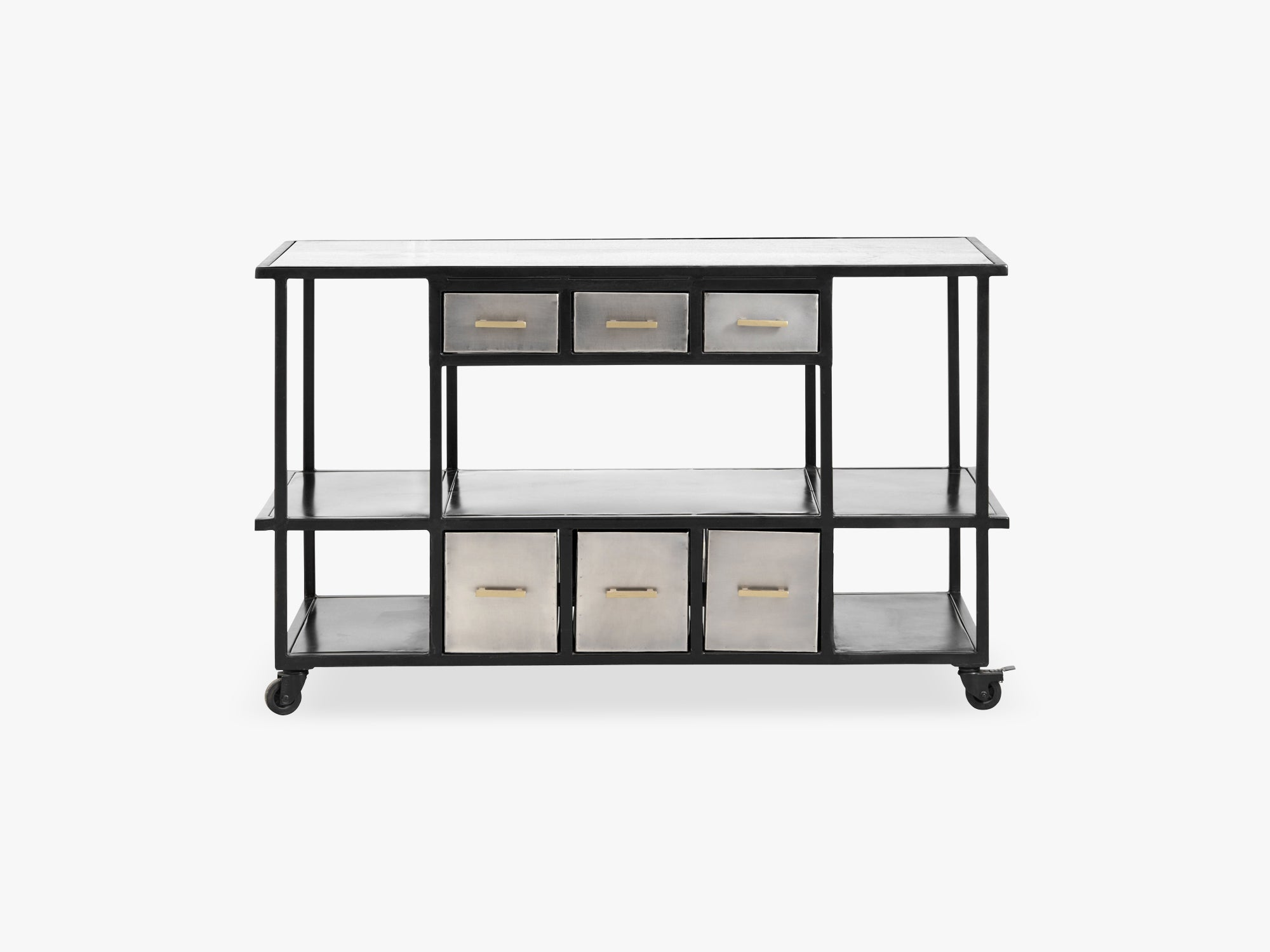 Iron console w/drawers, marble top, grey fra Nordal