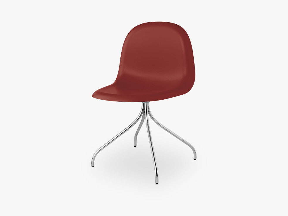 3D Dining Chair - Un-upholstered Swivel Chrome base, Shy Cherry shell fra GUBI