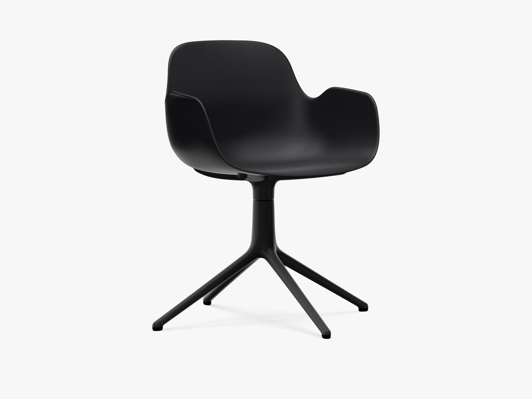 Form Armchair Swivel, Sort, Sort Alu fra Normann Copenhagen