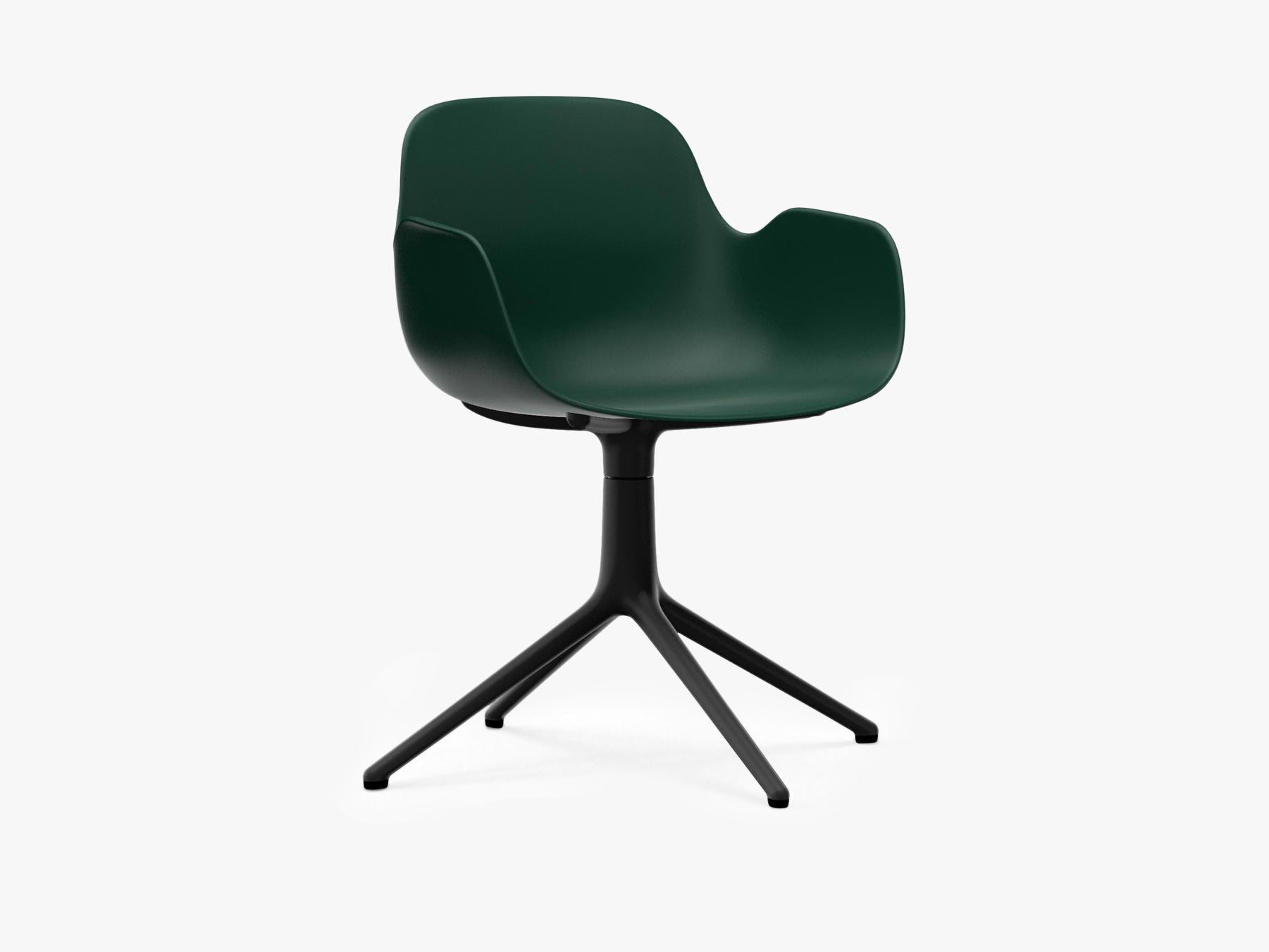Form Armchair Swivel, Grøn, Sort Alu fra Normann Copenhagen