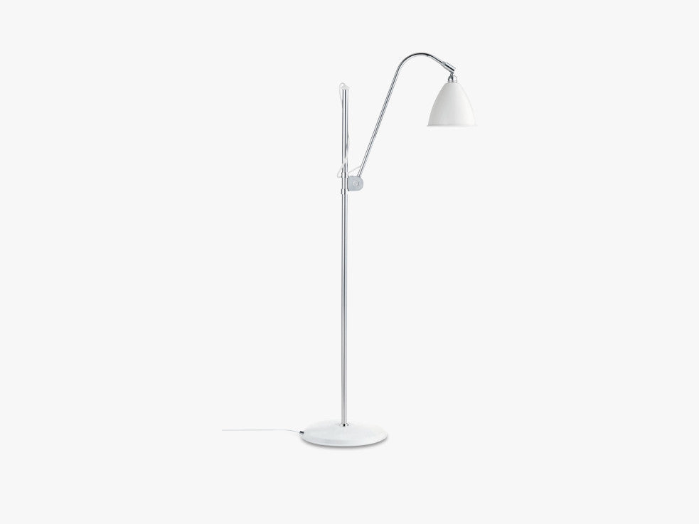 Bestlite BL3 Floor Lamp - Ø16 - Crome Base, Matt White fra GUBI