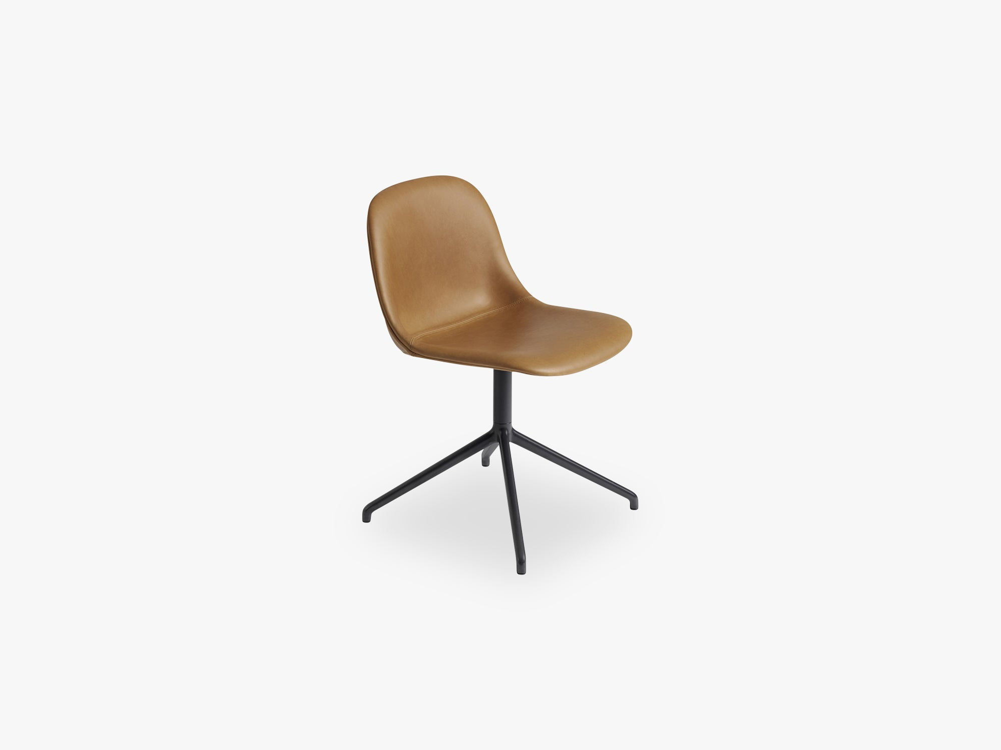 Fiber Side Chair - Swivel WO Return - Leather Shell, Silk Leather - Cognac/Black fra Muuto