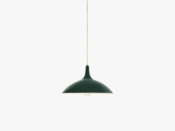 1965 Pendant - Brass base, Green shade fra GUBI