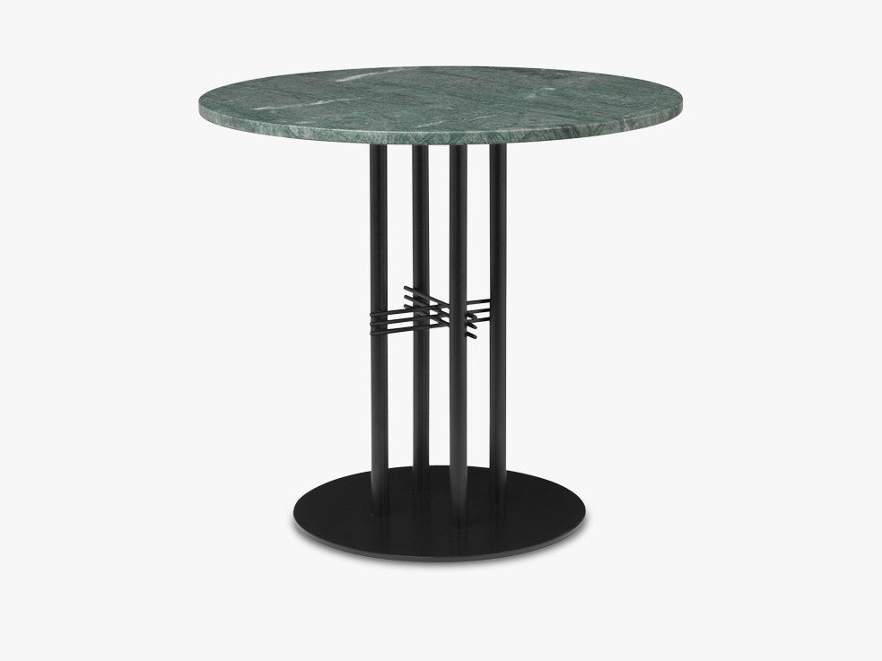 TS Column - Lounge table - Dia 80 Black base, Marble green top fra GUBI