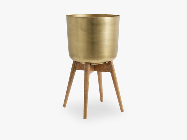 Planter on stand, large, brass/wood fra Nordal