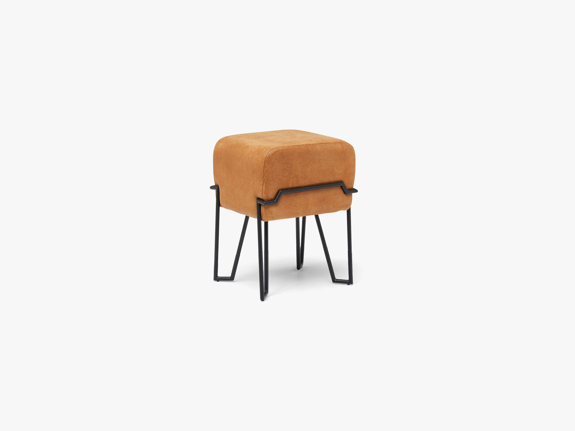 Bokk Stool, Black/Cognac Leather fra Puik