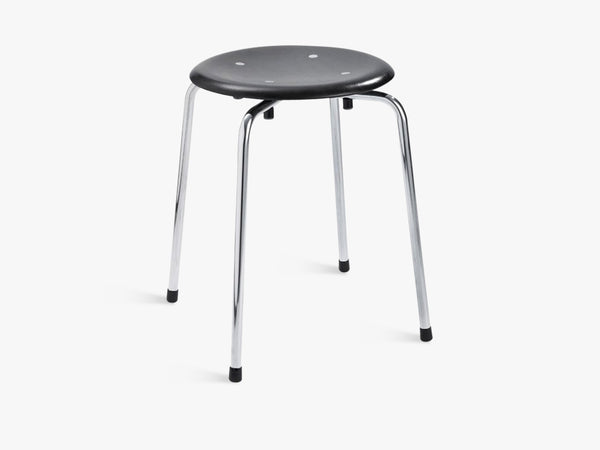 S38 S/1 Stool, Black seat with Chrome legs fra Egon Eiermann
