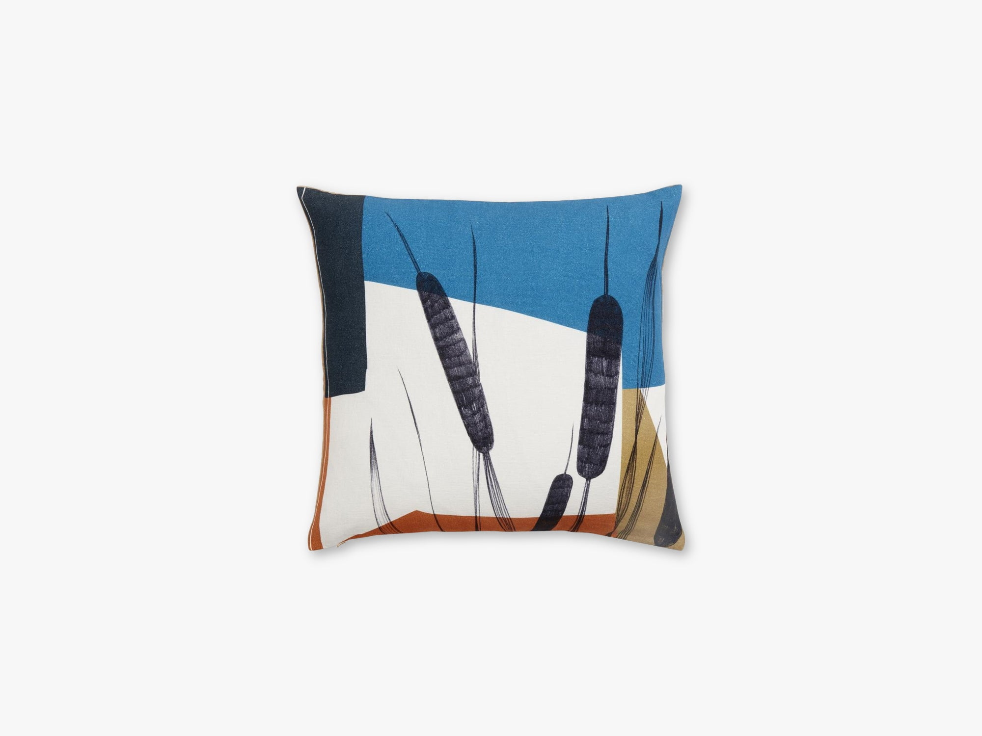 Cushion cover, bulrush, blue/terracotta fra Nordal