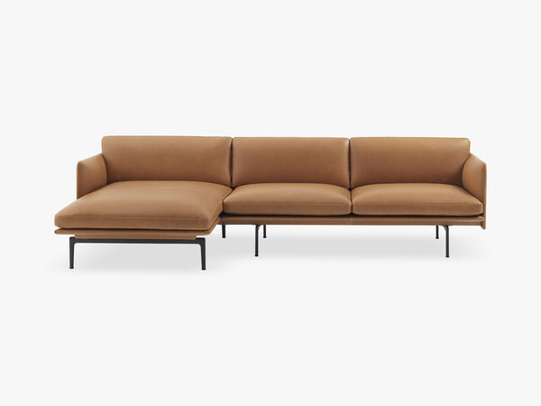 Outline Sofa - Chaise Longue - Left, Silk Leather - Cognac fra Muuto