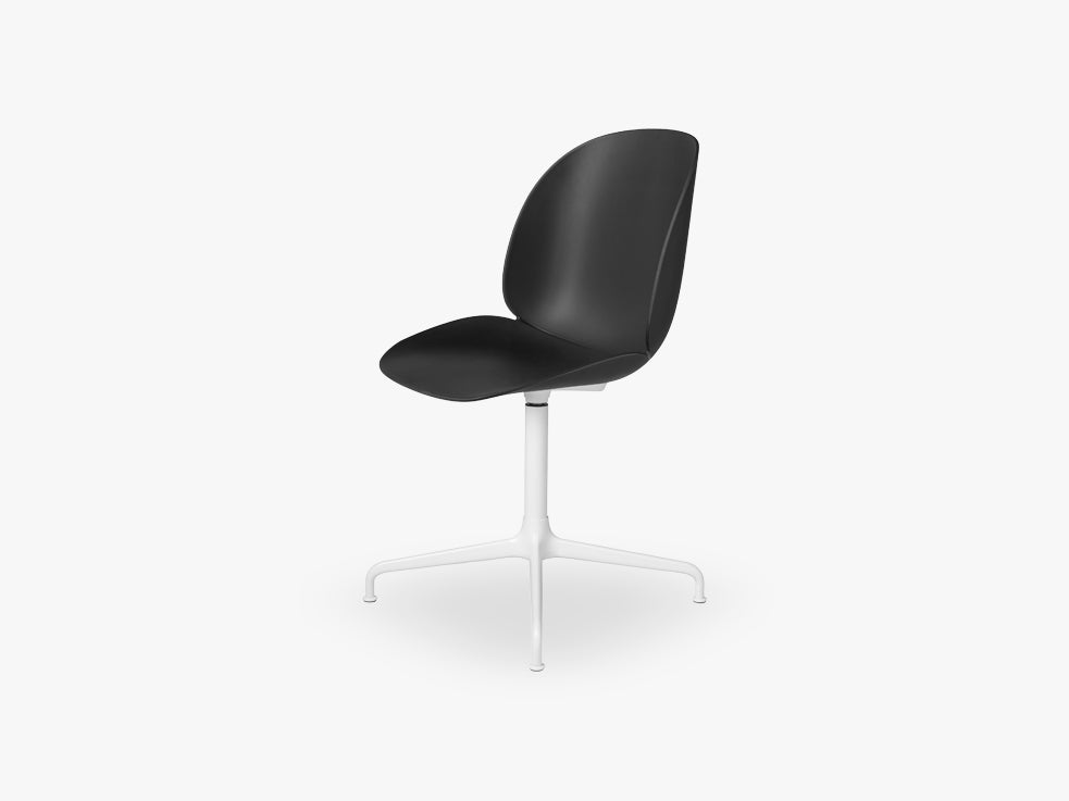 Beetle Meeting chair - Un-upholstered - 4-star swivel White base, Black shell