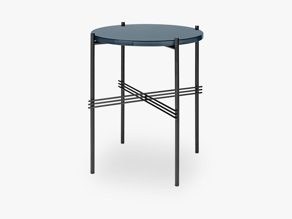 TS Coffee Table - Dia 40 Black base, glass grey blue top fra GUBI