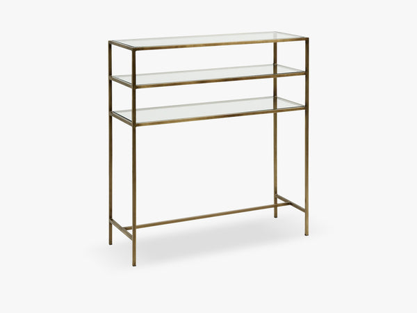 Hall table, glass shelves, golden metal fra Nordal