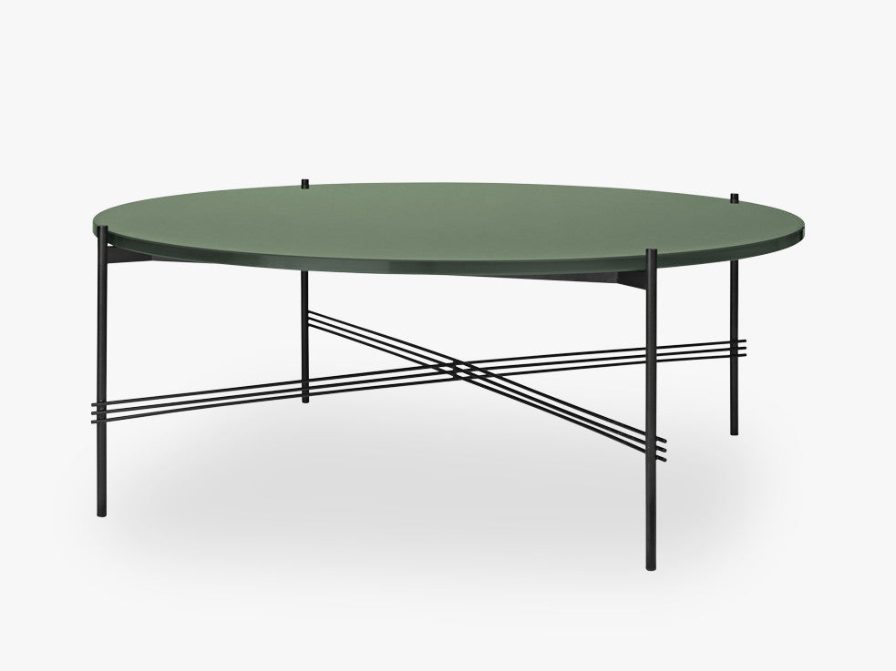 TS Coffee Table - Dia 105 Black base, glass dusty green top fra GUBI