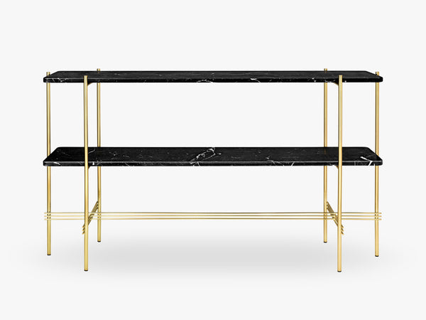 TS Console - 2 rack Brass base, marble black top fra GUBI