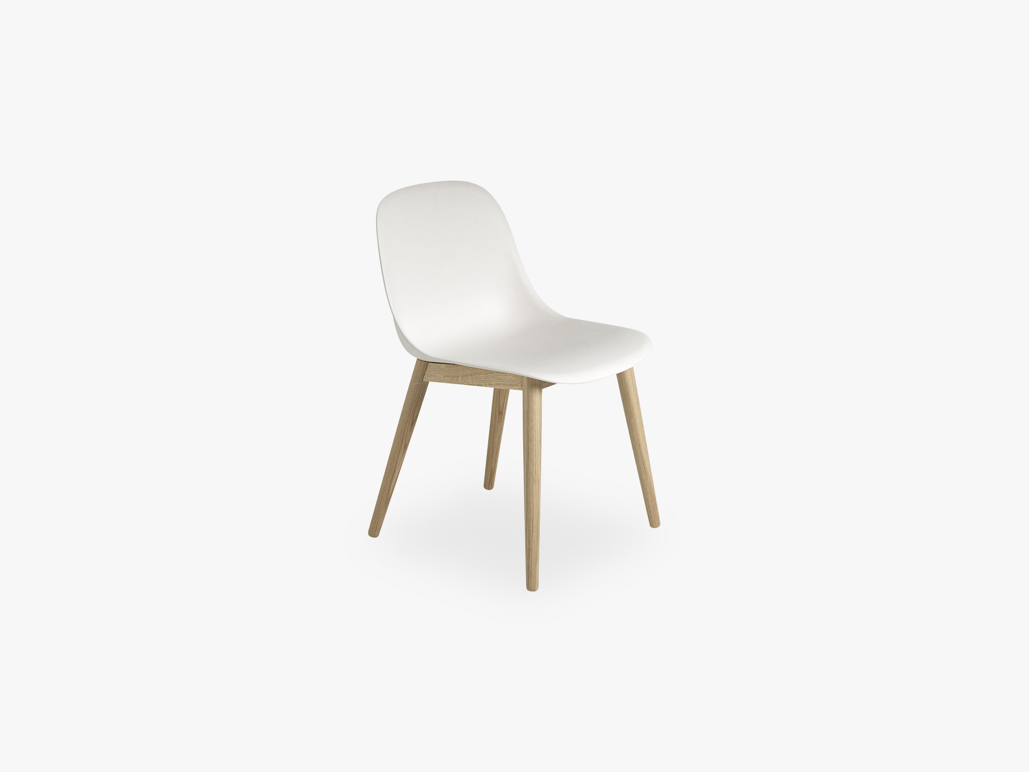 Fiber Side Chair - Wood Base - Normal Shell, Natural White/Oak fra Muuto