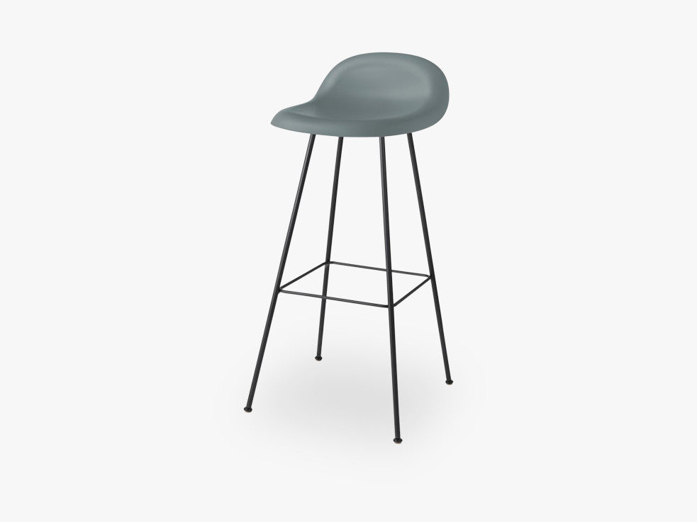 3D Bar Stool - Un-upholstered - 75 cm Center Black base, Rainy Grey shell fra GUBI