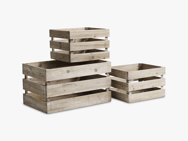 Wooden boxes, s/3, 1 large, 2 small fra Nordal