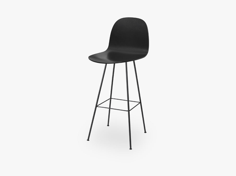 2D Bar Chair - Un-upholstered - 75 cm Center Black base, Black Stained Birch shell fra GUBI