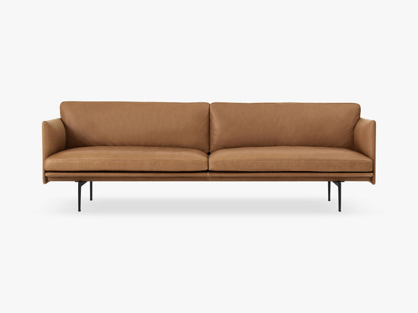 Outline Sofa - 3-Seater, Silk Leather - Cognac fra Muuto