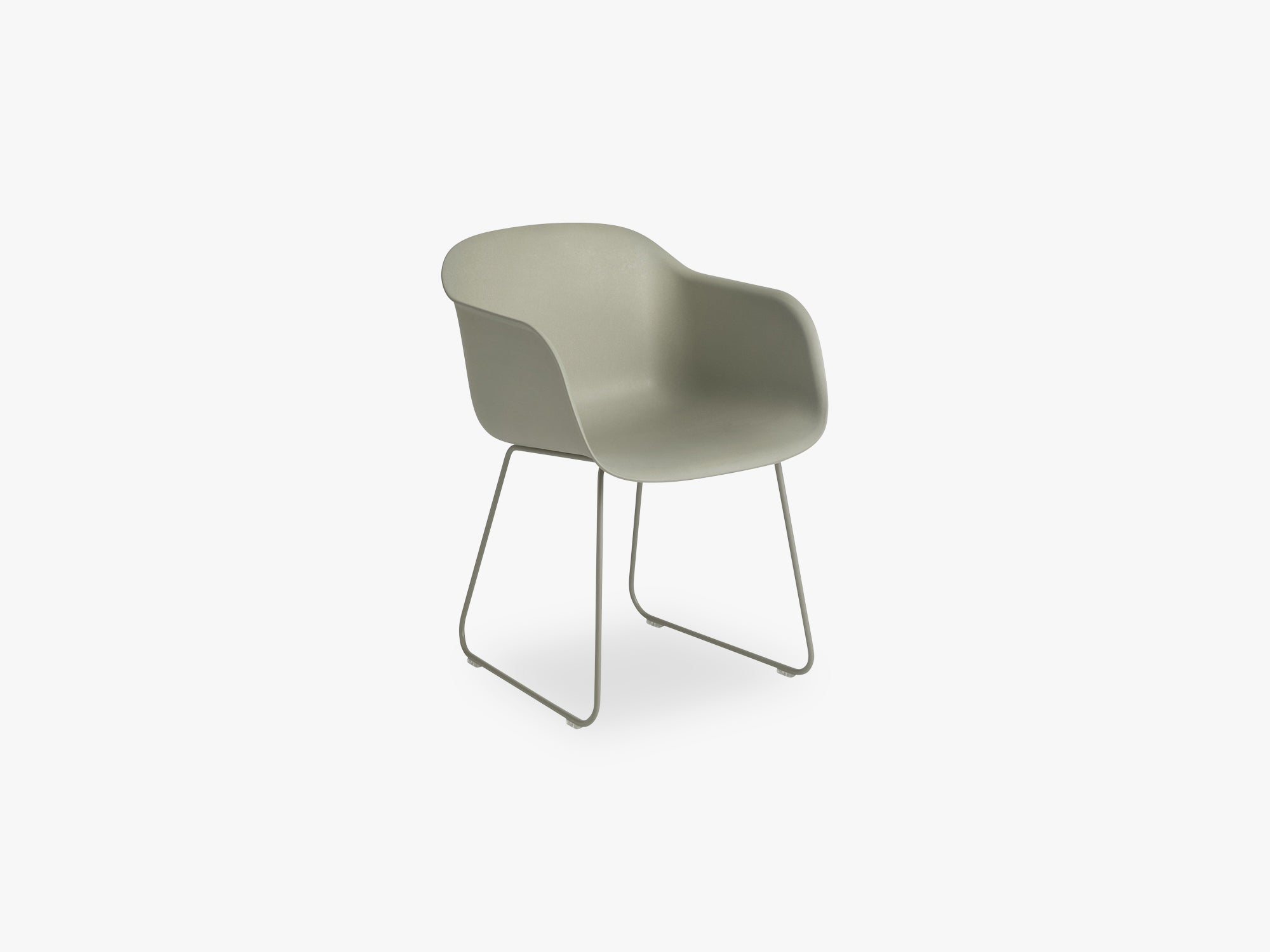 Fiber Armchair - Sled Base - Normal Shell, Dusty Green/Dusty Green fra Muuto