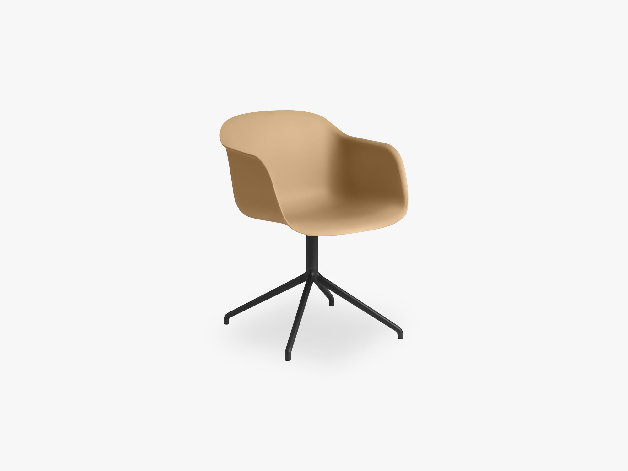 Fiber Armchair - Swivel Base WO Return - Normal Shell, Ochre/Black fra Muuto