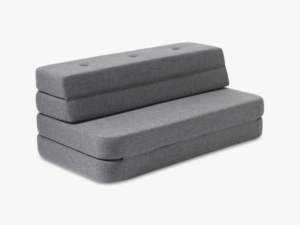KK 3 Fold Sofa, Blue grey w grey buttons fra By KlipKlap