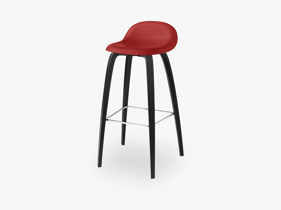 3D Bar Stool - Un-upholstered - 75 cm Black Stained Beech base, Shy Cherry shell fra GUBI