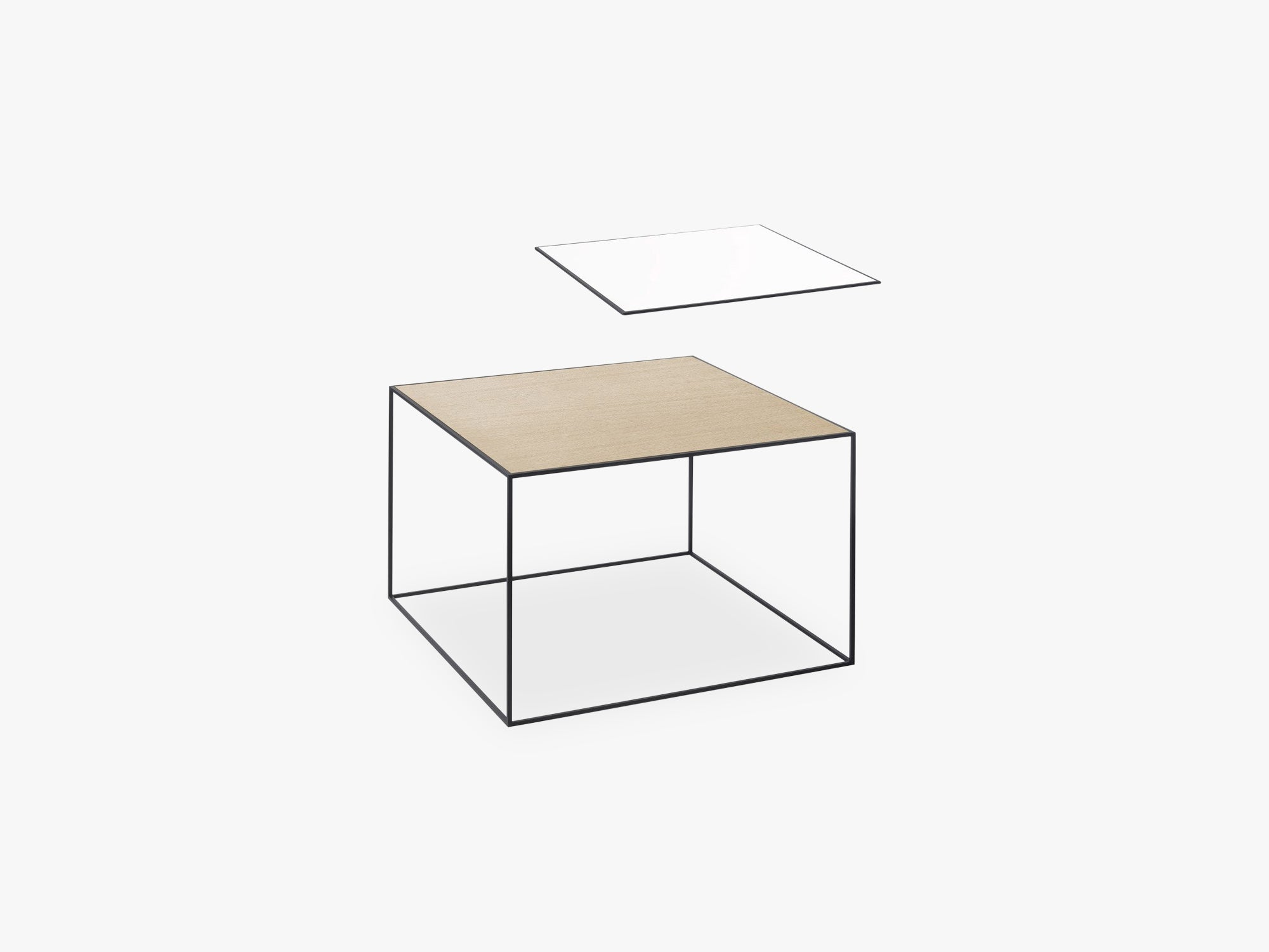 Twin 49 table, black, white/oak fra By Lassen