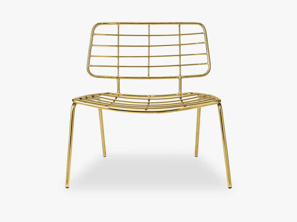 Mesh Lounge Chair, Metal, Gold fra Bloomingville