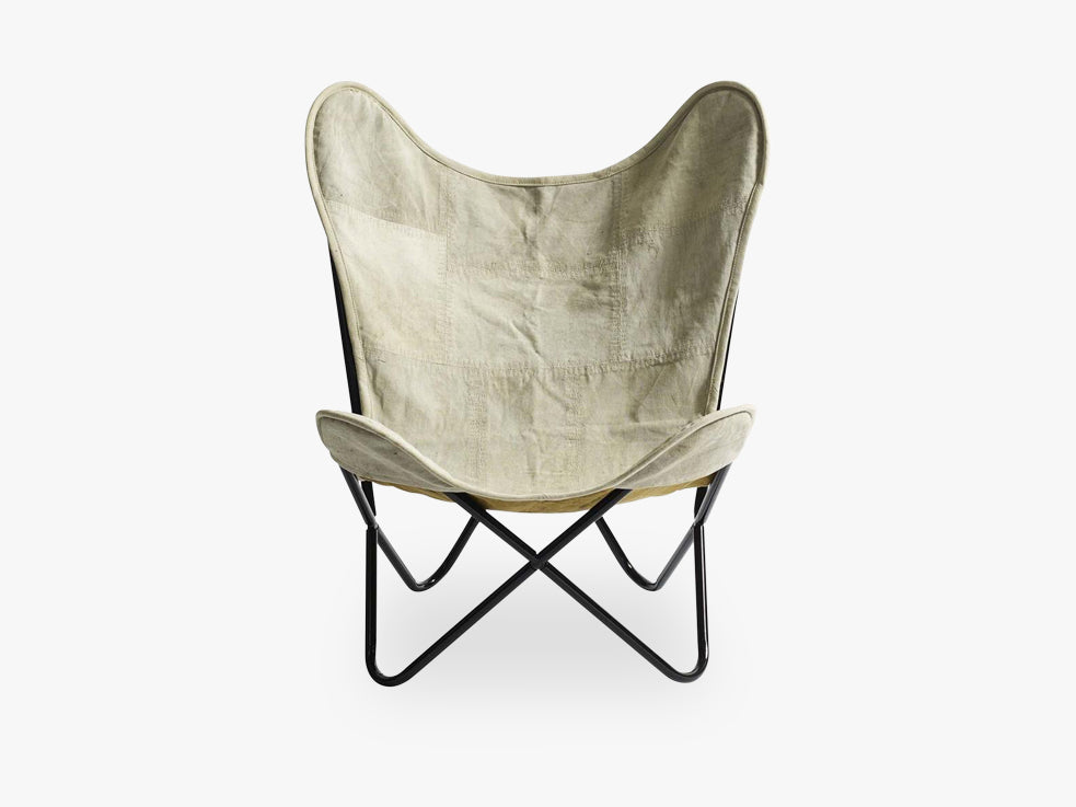 Butterfly chair, canvas, black legs fra Nordal