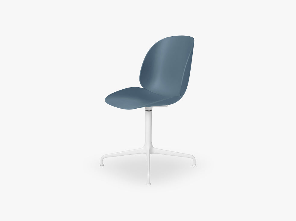 Beetle Meeting chair - Un-upholstered - 4-star swivel White base,Blue Grey shell