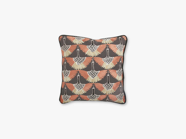 Cushion cover, dark orange bird embroid fra Nordal