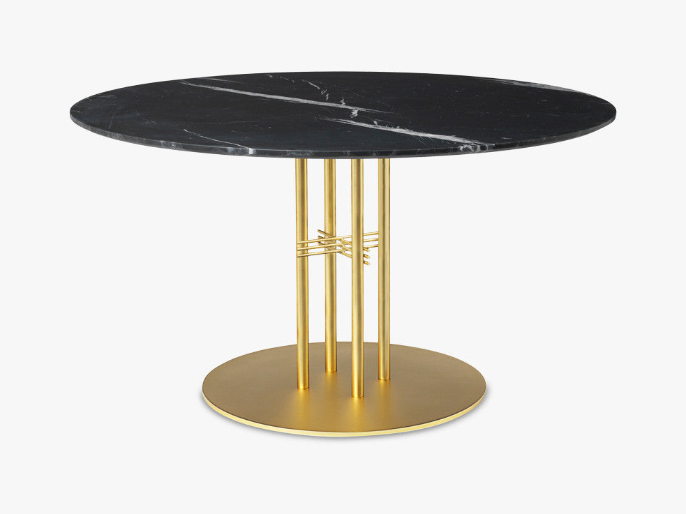 TS Column - Dining Table - Dia 130 Brass base, marble black top fra GUBI
