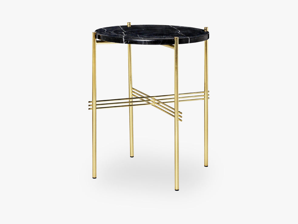 TS Coffee Table - Dia 40 Brass base, marble black top fra GUBI